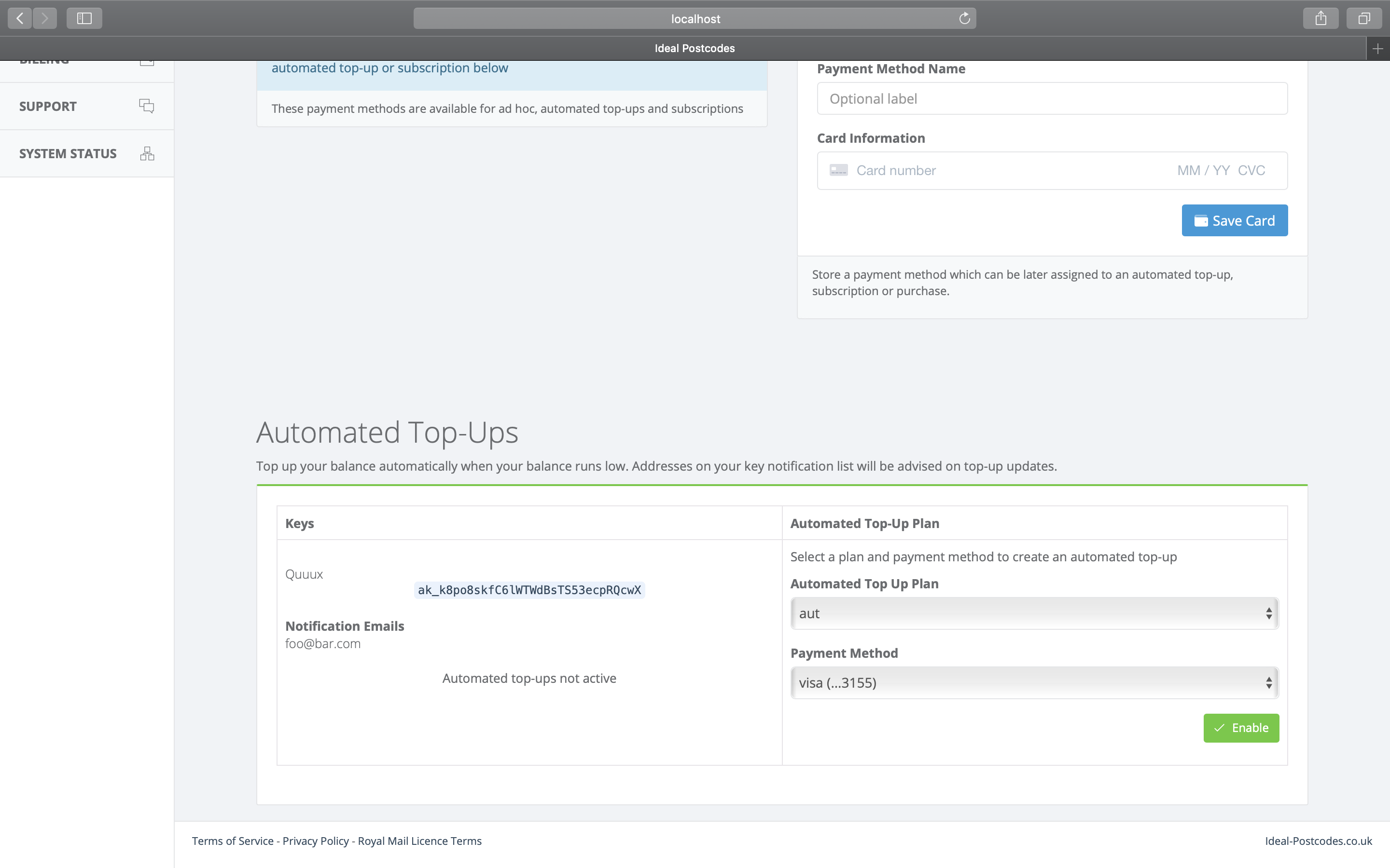 Enable automated top-ups-screenshot