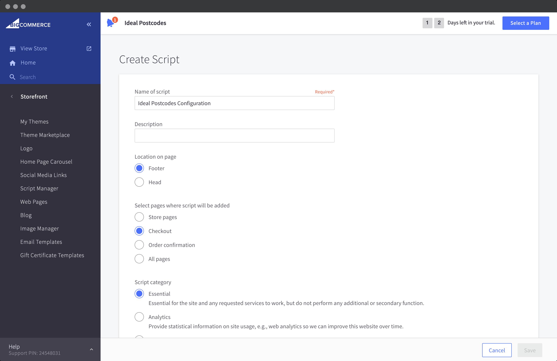 Edit Script page
