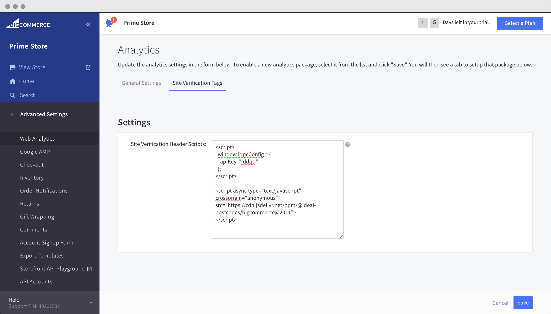 Manually add Site Verification Tags setup