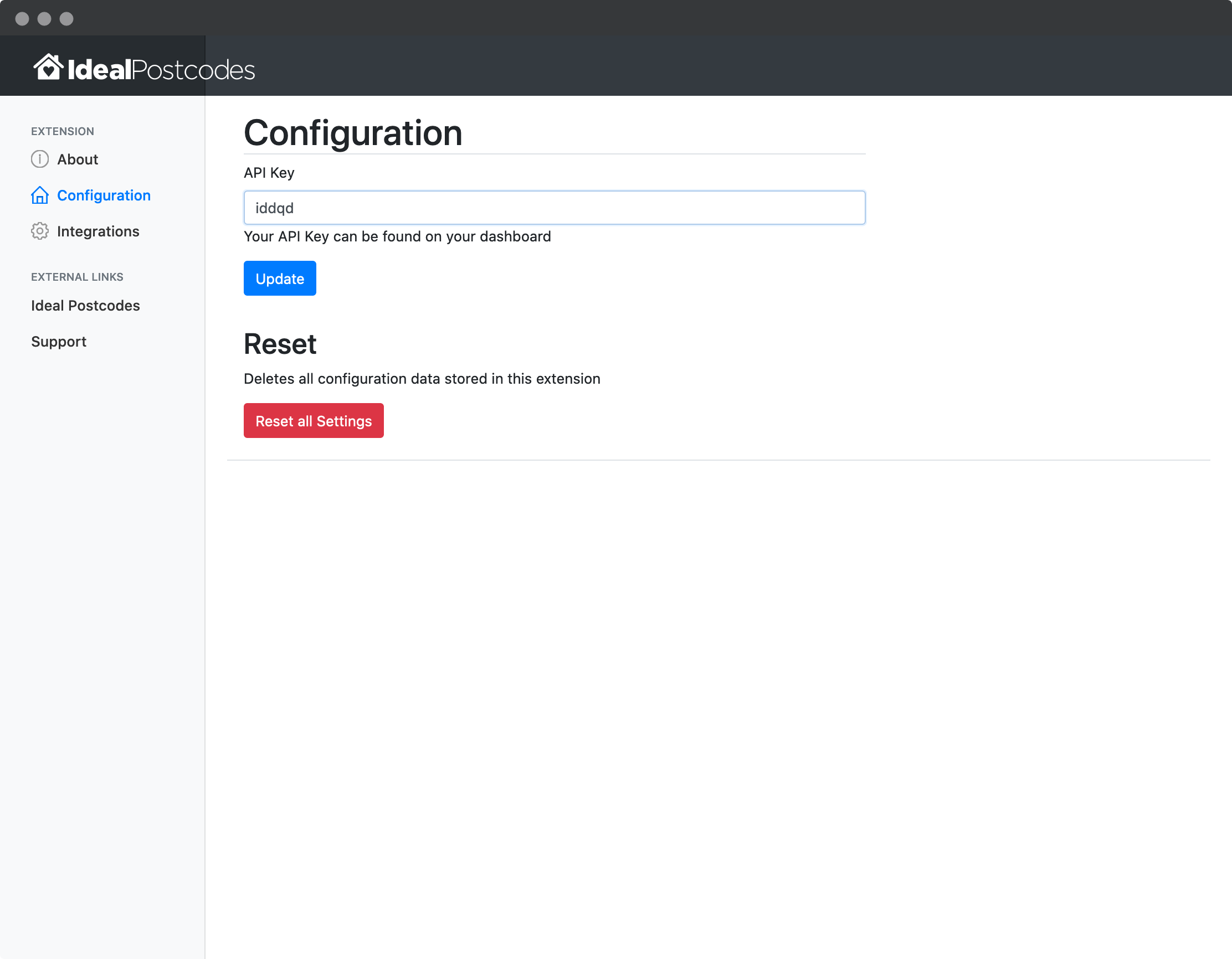 Browser Extension configuration page-screenshot