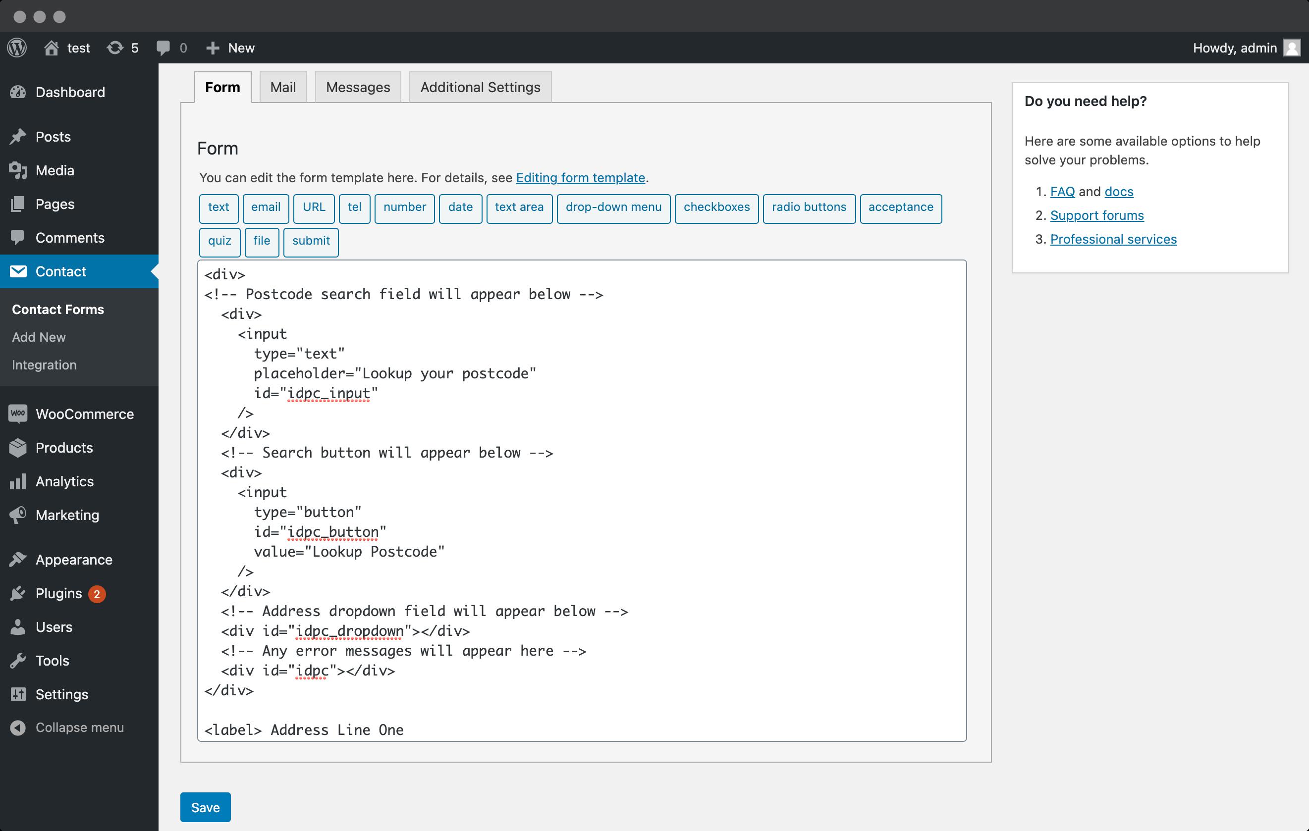 Add Postcode Lookup fields-screenshot
