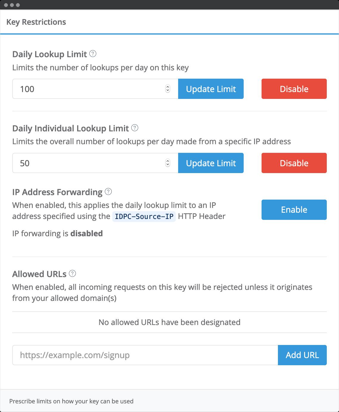 Daily lookup limits-screenshot