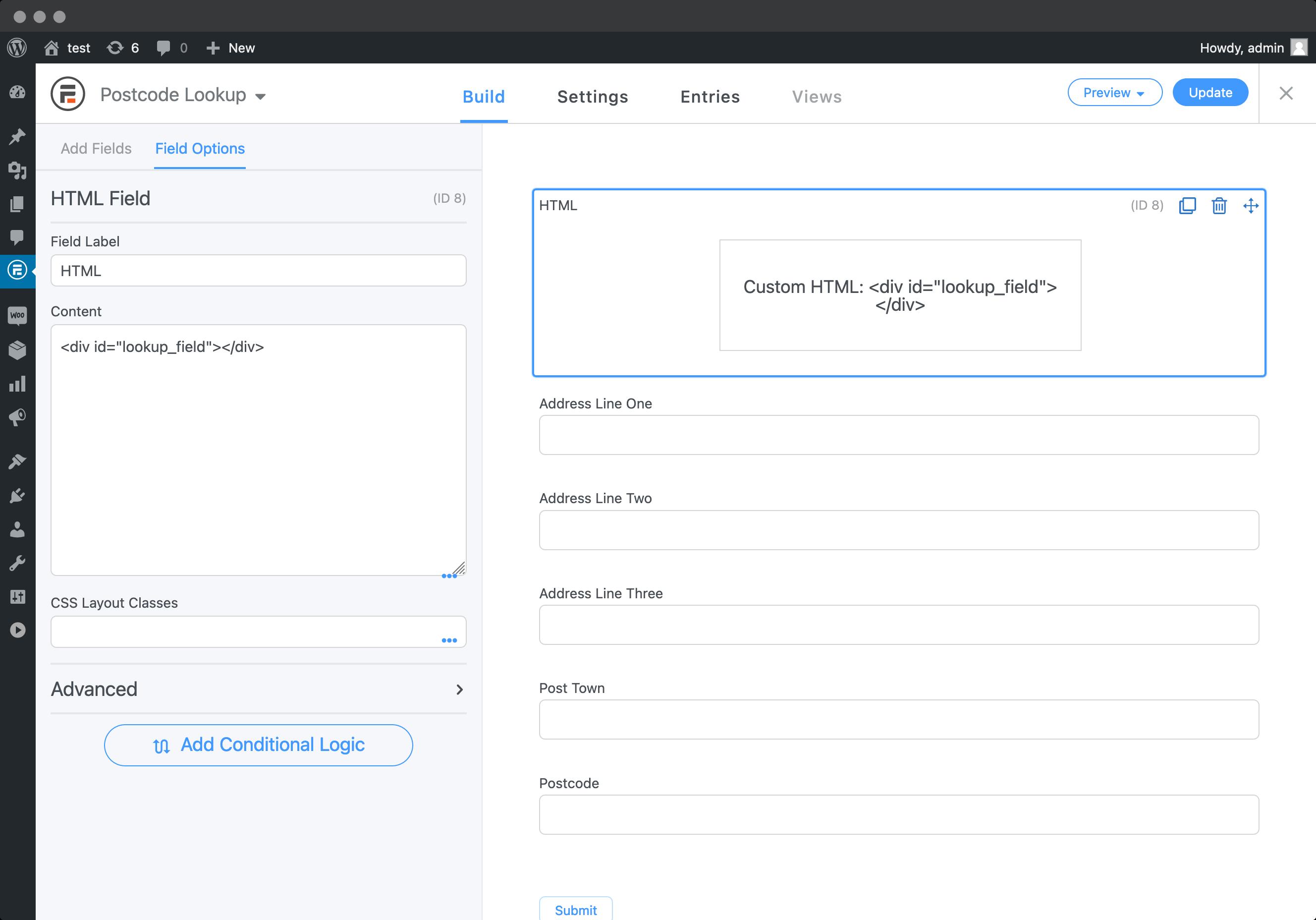 Add Postcode Lookup HTML field-screenshot