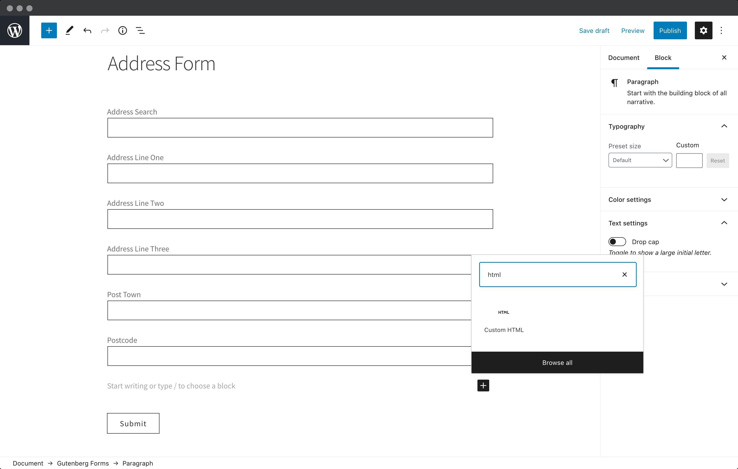 Create HTML block-screenshot