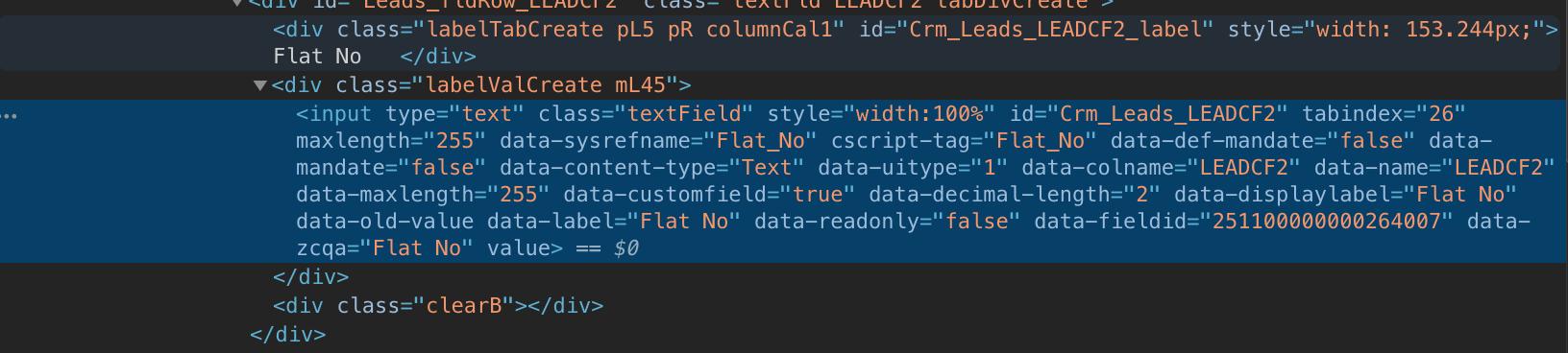 Identify the id attribute on the <input> field-screenshot