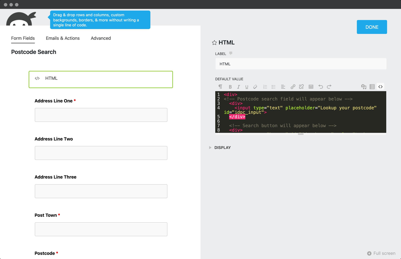 Enter HTML into the code editor-screenshot