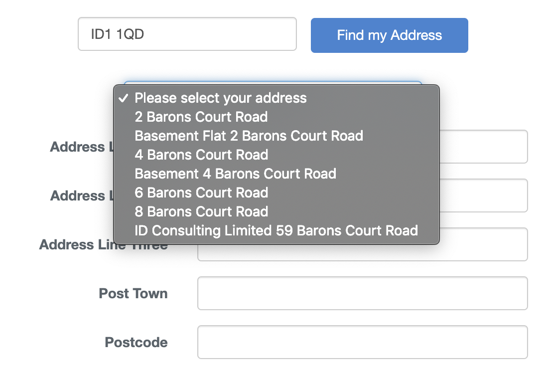 Postcode Lookup-screenshot