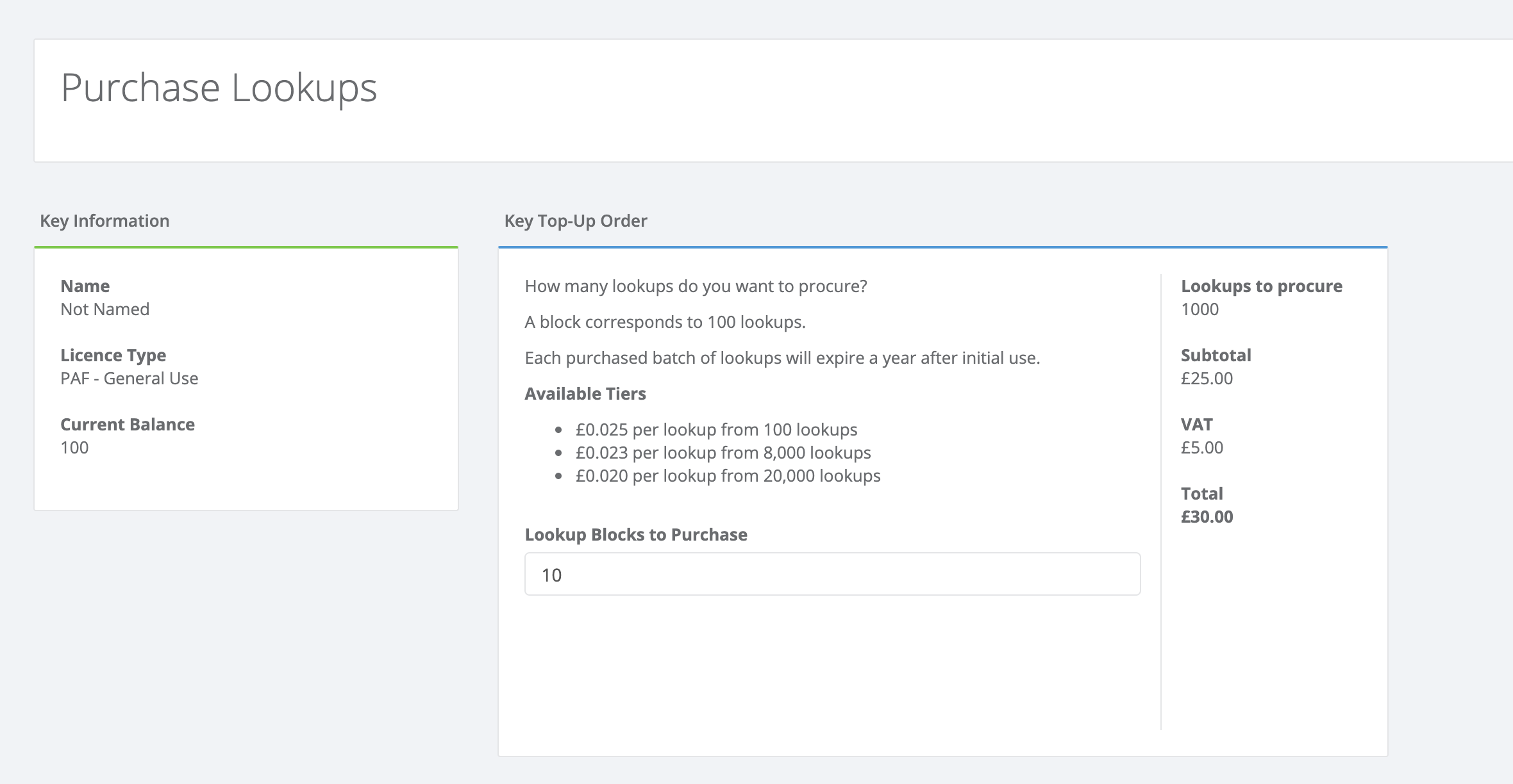 Purchase Lookups on dashboard