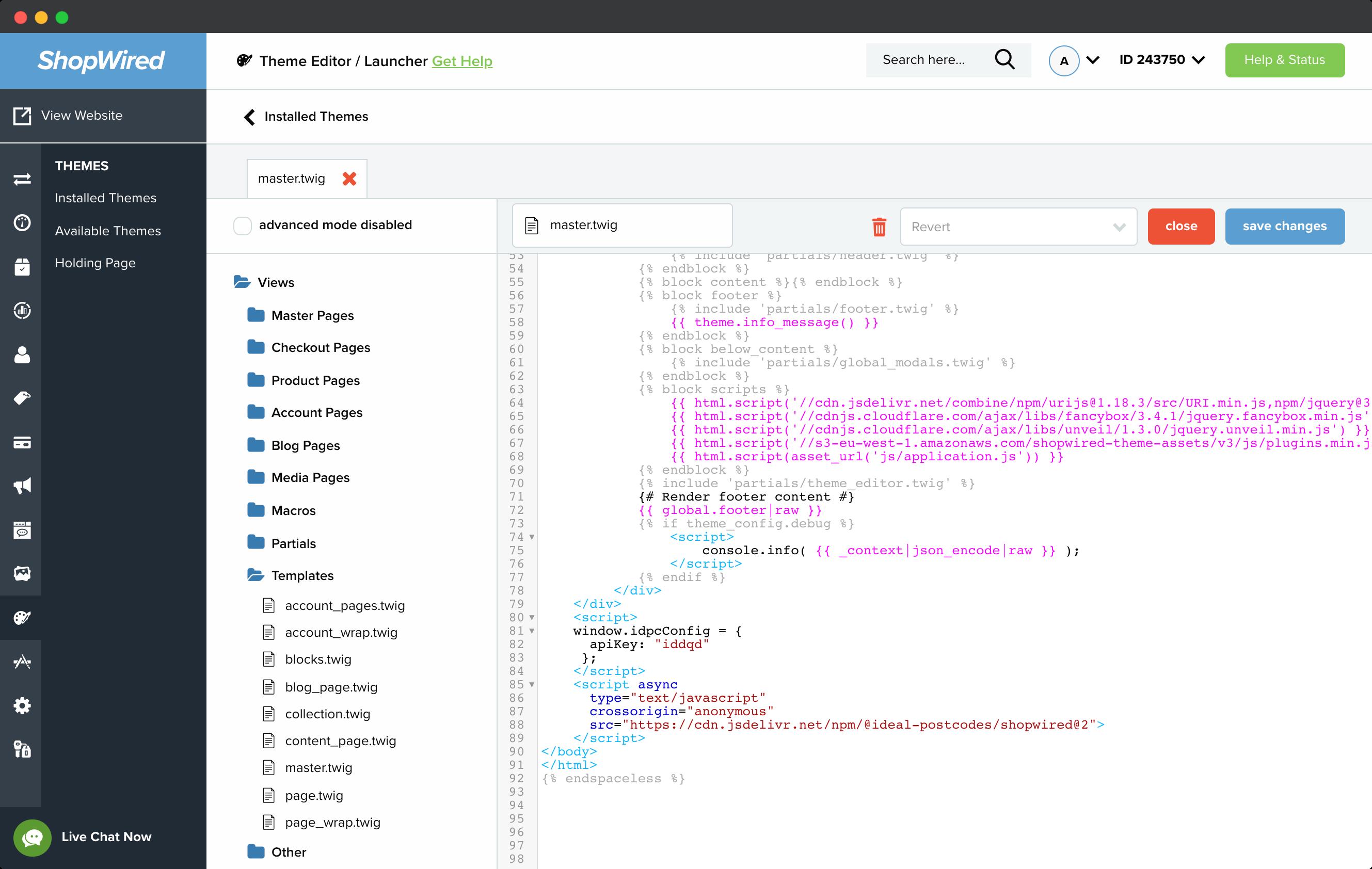 Insert configuration code-screenshot