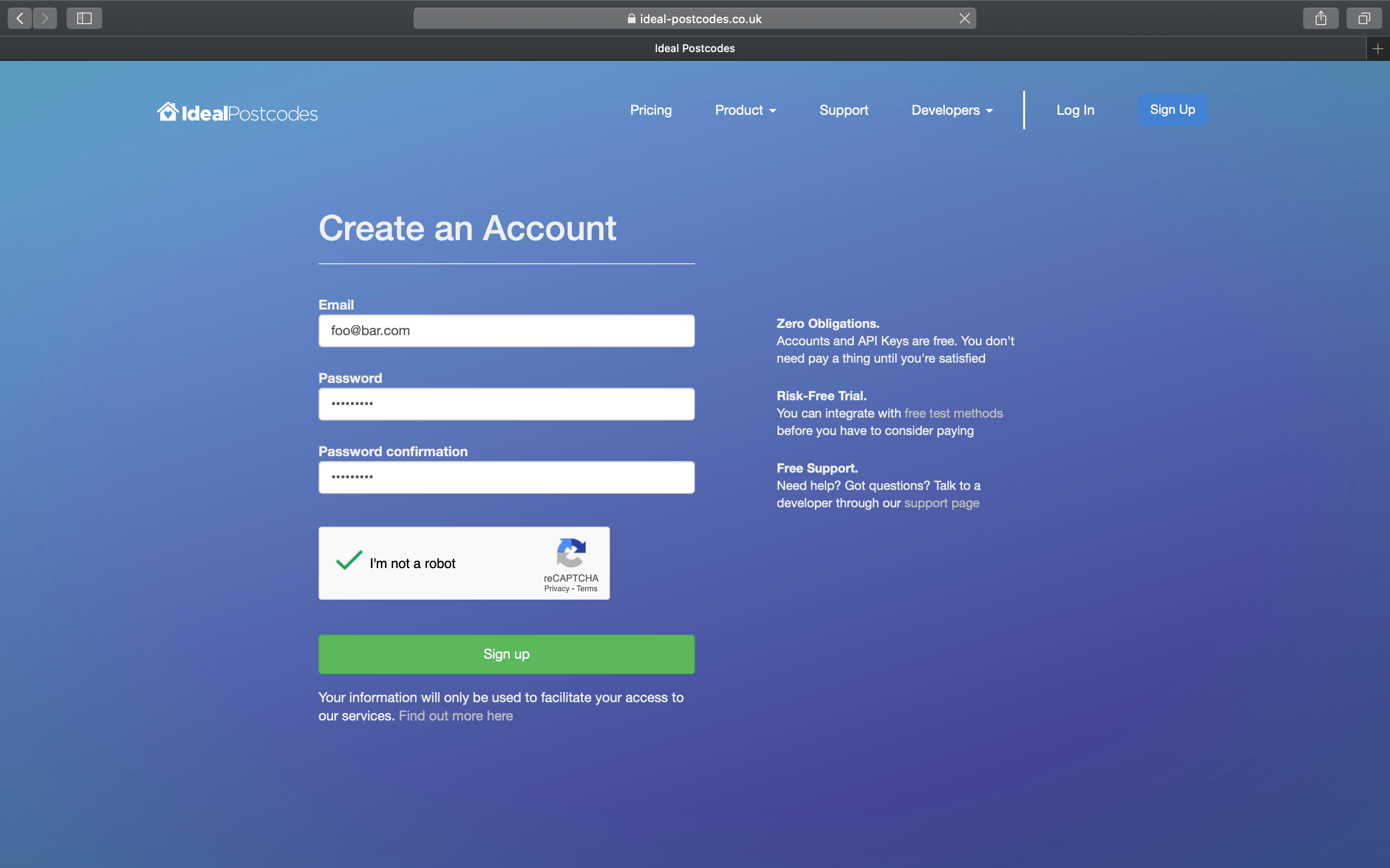 Sign up for an account-screenshot
