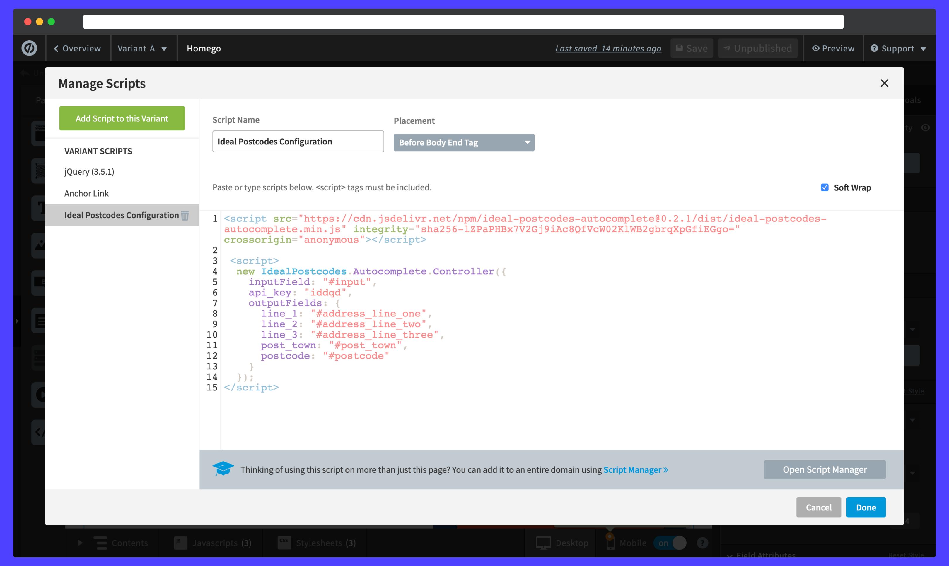 Adding the initialisation script-screenshot